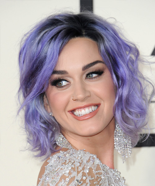 Katy Perry Medium Wavy Casual   Hairstyle   - Purple