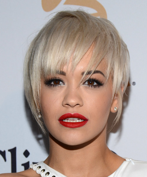 Rita Ora Short Straight Casual    Hairstyle with Layered Bangs  - Light Blonde Hair Color