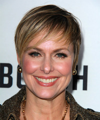 Melora Hardin Short Straight   Dark Blonde   Hairstyle with Side Swept Bangs  and Light Blonde Highlights