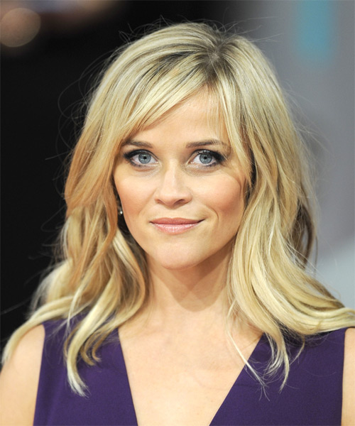 Reese Witherspoon Long Straight Casual    Hairstyle with Side Swept Bangs  - Light Blonde Hair Color