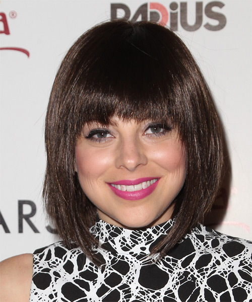 Krysta Rodriguez Medium Straight Formal Bob  Hairstyle with Layered Bangs  - Medium Brunette