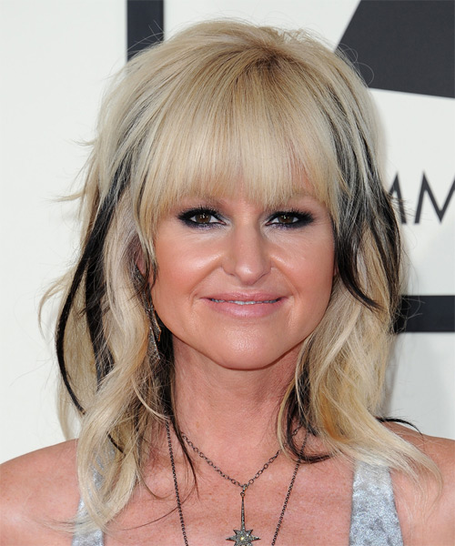 Mindi Abair Medium Wavy Casual   Hairstyle with Layered Bangs  - Light Blonde