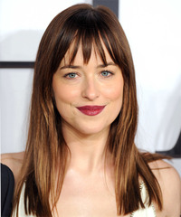 Dakota Johnson Long Straight Casual    Hairstyle   -  Brunette Hair Color