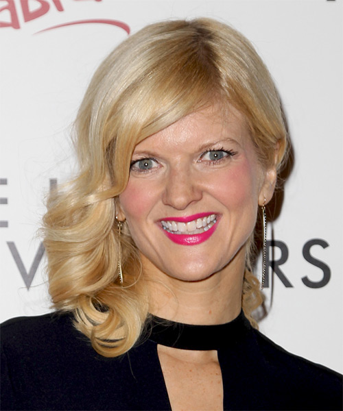 Arden Myrin Medium Wavy Formal Wedding Half Up Hairstyle   - Medium Blonde