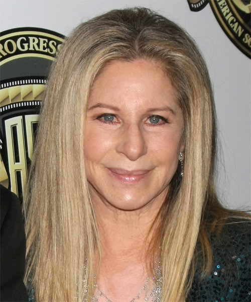 Barbra Streisand Long Straight Casual Hairstyle   Light Blonde Hair Color