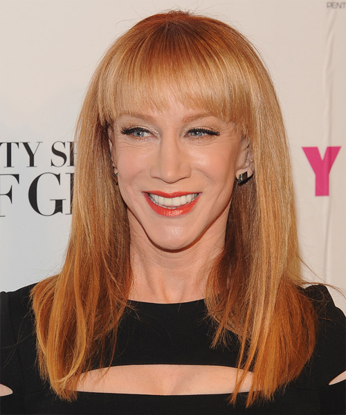 Kathy Griffin Long Straight Formal    Hairstyle with Blunt Cut Bangs  - Light Ginger Red Hair Color