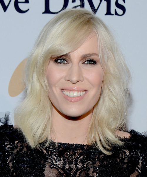 Natasha Bedingfield Medium Wavy Casual   Hairstyle with Side Swept Bangs  - Light Blonde (Platinum)