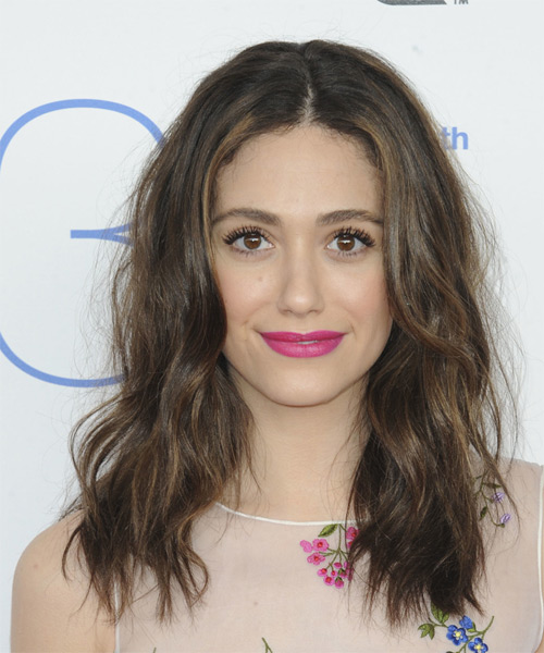 Emmy Rossum Long Wavy Casual   Hairstyle   - Medium Brunette