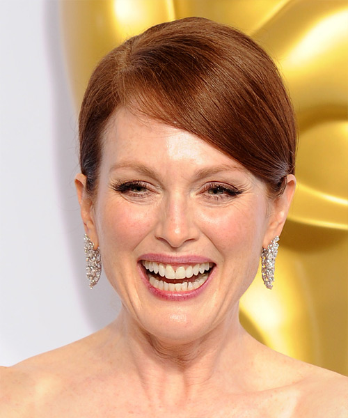 Julianne Moore Long Straight Formal Wedding Updo Hairstyle   - Medium Red