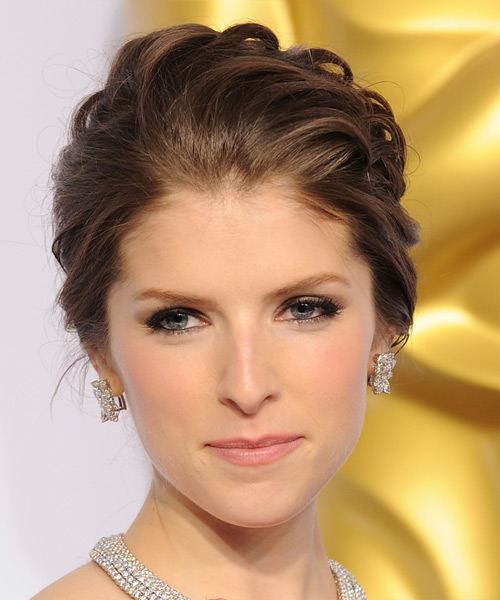 Anna Kendrick Long Wavy Formal Updo Hairstyle Chocolate