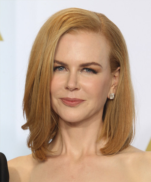 Nicole Kidman Medium Straight Formal  Bob  Hairstyle   - Light Copper Red Hair Color