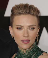 Scarlett Johansson Short Straight Formal    Hairstyle   - Light Chestnut Brunette Hair Color