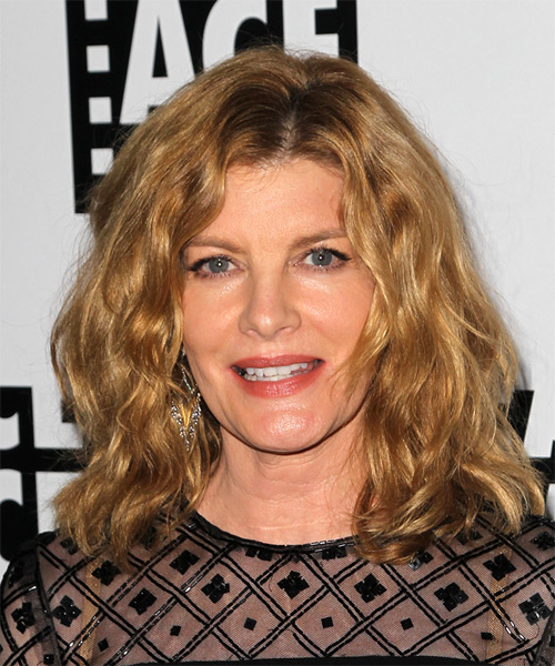 Rene Russo Medium Wavy Casual    Hairstyle   - Dark Copper Blonde Hair Color