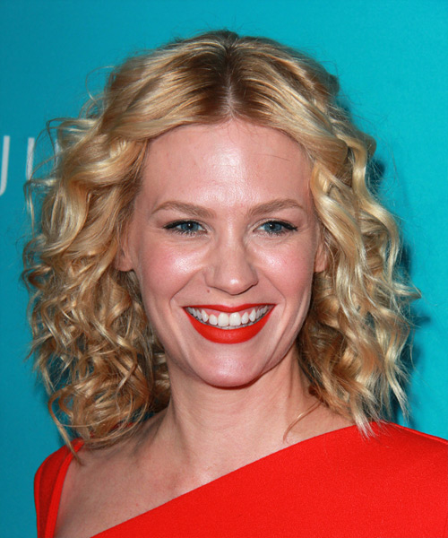January Jones Medium Curly Casual    Hairstyle   -  Golden Blonde Hair Color with Light Blonde Highlights
