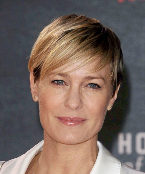 Robin Wright Short Straight Casual   Hairstyle with Side Swept Bangs  - Medium Blonde