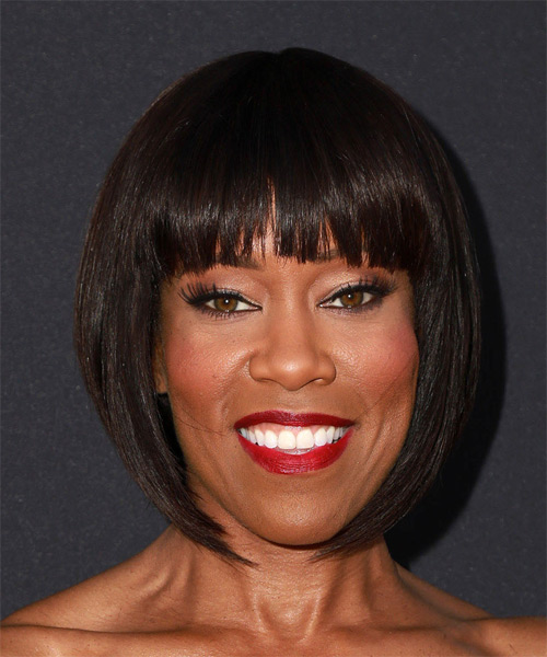 Regina King Medium Straight Formal Bob  Hairstyle with Blunt Cut Bangs  - Dark Brunette