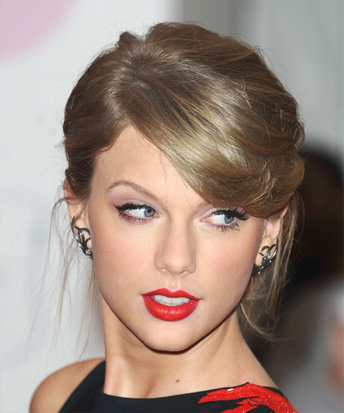 Taylor Swift Medium Straight Formal  Updo Hairstyle with Side Swept Bangs  - Dark Blonde (Ash)