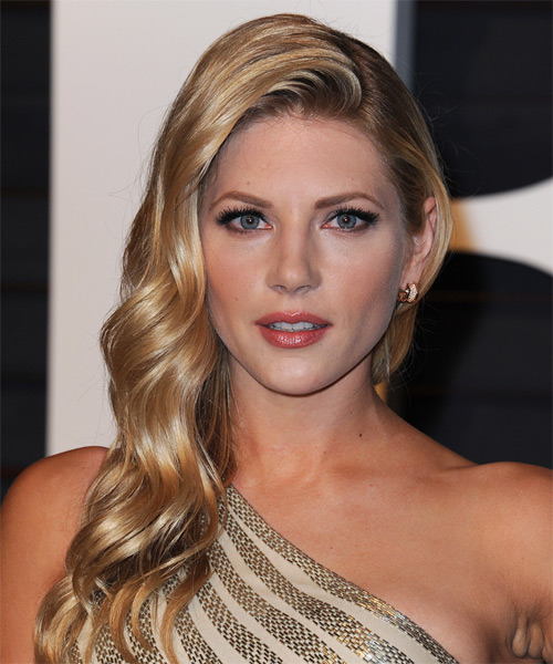Katheryn Winnick Long Wavy Formal   Hairstyle   - Medium Blonde (Honey)