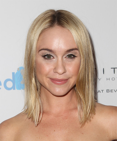 Becca Tobin Medium Straight Casual    Hairstyle   - Light Blonde Hair Color