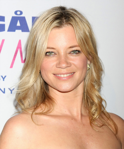 Amy Smart Long Wavy Casual    Hairstyle   - Light Golden Blonde Hair Color