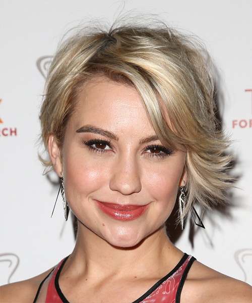 Chelsea Kane Short Straight Casual   Hairstyle with Side Swept Bangs  - Medium Blonde