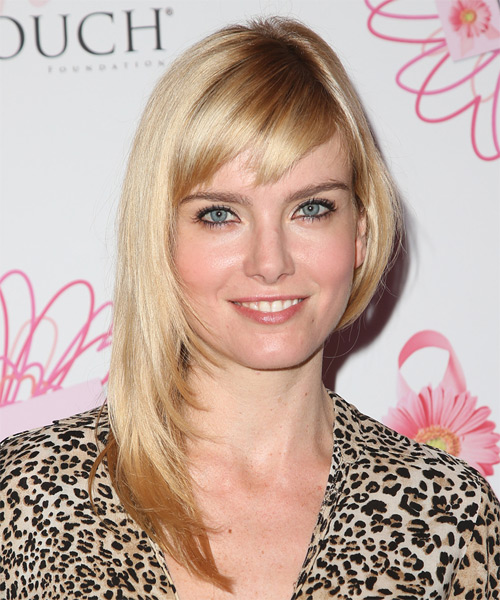 Eugenia Kuzmina Long Straight Casual   Hairstyle with Side Swept Bangs  - Light Blonde