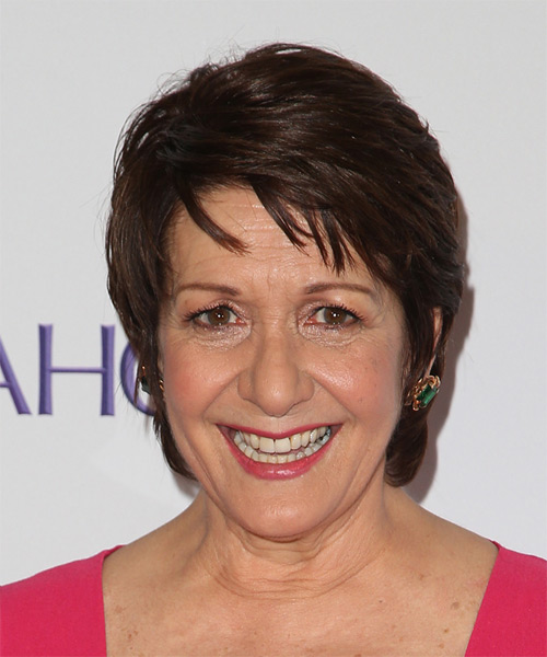 Ivonne Coll Short Straight Casual    Hairstyle with Layered Bangs  - Dark Chocolate Brunette Hair Color