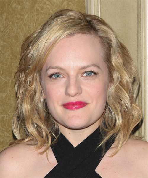 Elisabeth Moss Medium Wavy Casual   Hairstyle   - Medium Blonde