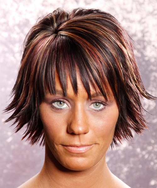 Medium Straight Casual    Hairstyle with Layered Bangs  - Dark Plum Red Hair Color with Medium Red Highlights