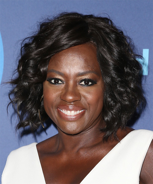 Viola Davis Medium Curly Formal    Hairstyle with Side Swept Bangs  - Dark Brunette Hair Color