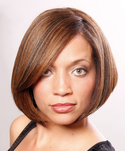 Hair Salon Hairstyles: Medium Straight Copper Brunette Bob Haircut With Side