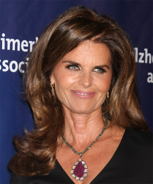 Maria Shriver Long Straight Formal   Hairstyle with Side Swept Bangs  (Chocolate)