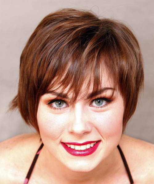 Short Straight Casual    Hairstyle   - Medium Auburn Brunette Hair Color
