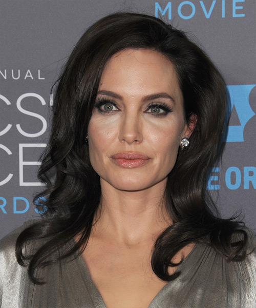 Angelina Jolie Long Wavy Formal Hairstyle Dark Mocha