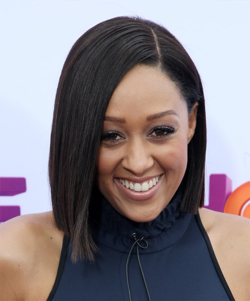Tia Mowry Medium Straight Formal Bob  Hairstyle   - Dark Brunette