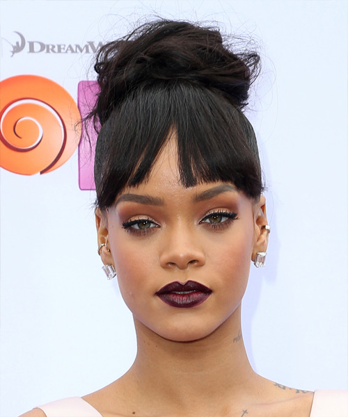 Rihanna Long Straight Casual Updo with Blunt Cut Bangs