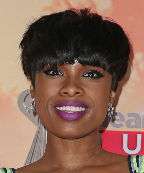 Jennifer Hudson Short Straight Casual   Hairstyle with Blunt Cut Bangs