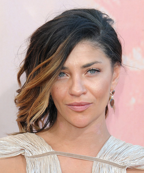 Jessica Szohr Medium Wavy Casual  Updo Hairstyle   - Black