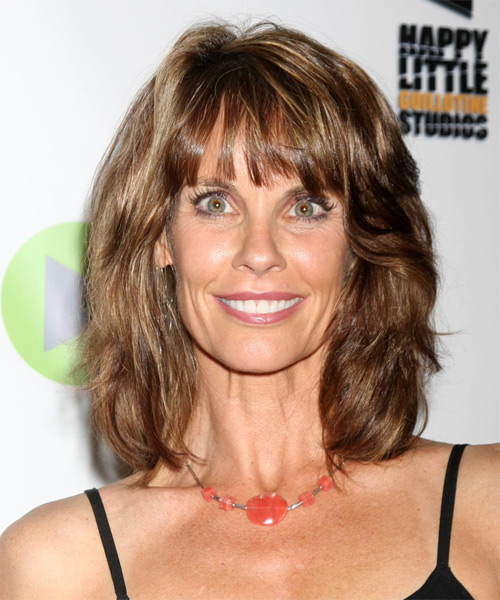 Alexandra Paul Medium Straight Casual   Hairstyle with Blunt Cut Bangs  - Medium Brunette