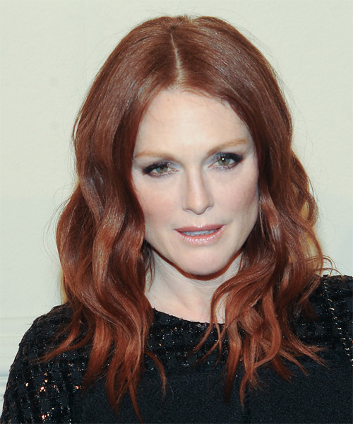 Julianne Moore Long Wavy Casual    Hairstyle   - Medium Red Hair Color