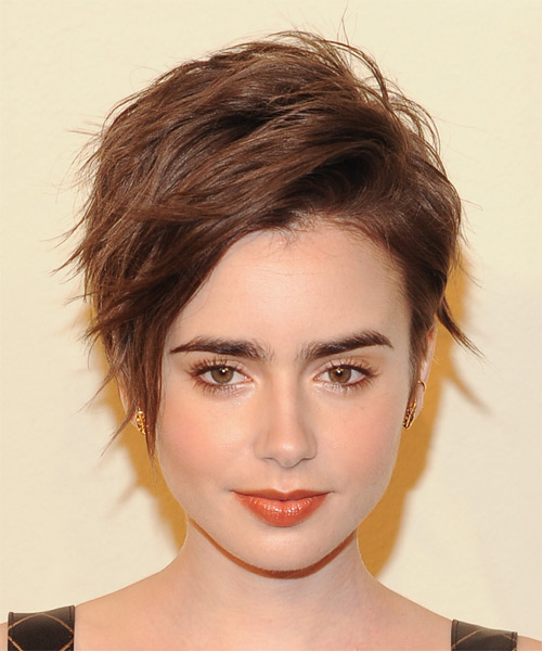 Lily Collins Short Straight Casual   Hairstyle with Side Swept Bangs  - Medium Brunette