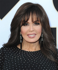 Marie Osmond Long Straight   Dark Chocolate Brunette   Hairstyle with Blunt Cut Bangs