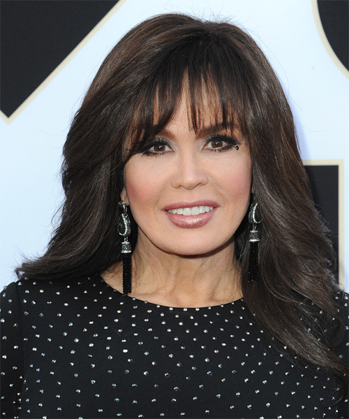 Marie Osmond Long Straight Formal    Hairstyle with Blunt Cut Bangs  - Dark Chocolate Brunette Hair Color