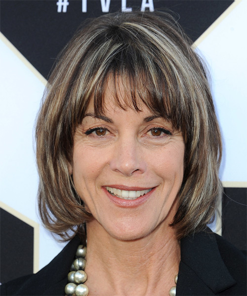 Wendie Malick Medium Straight Casual   Hairstyle with Layered Bangs  - Medium Brunette