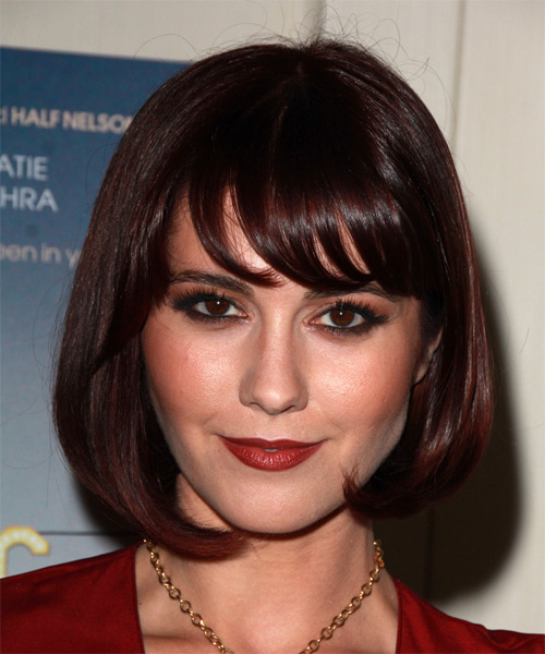 Mary Elizabeth Winstead Medium Straight Formal  Bob  Hairstyle with Side Swept Bangs  - Dark Mahogany Red Hair Color