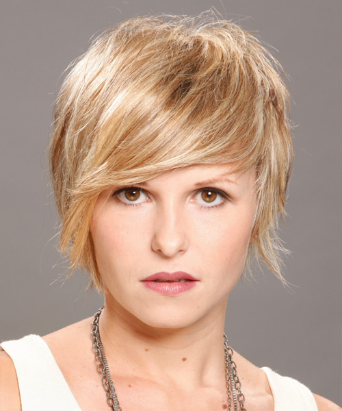 Short Straight Casual    Hairstyle   - Medium Champagne Blonde Hair Color