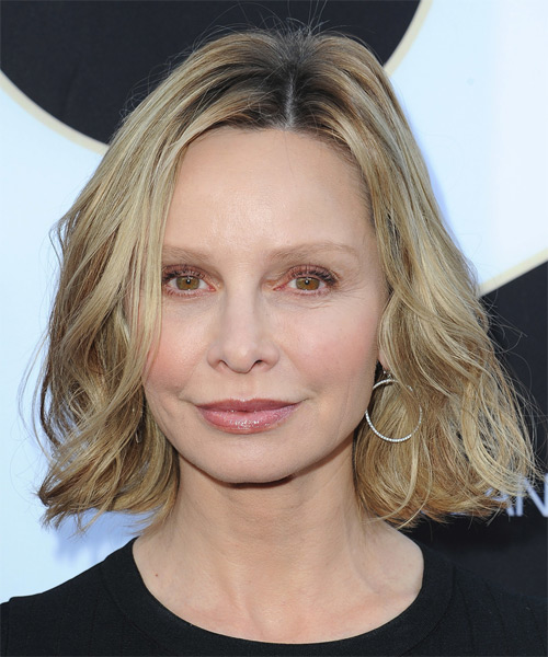 Calista Flockhart Medium Wavy Casual   Hairstyle   - Light Blonde