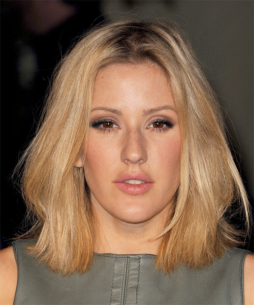 Ellie Goulding Medium Straight    Copper Blonde   Hairstyle