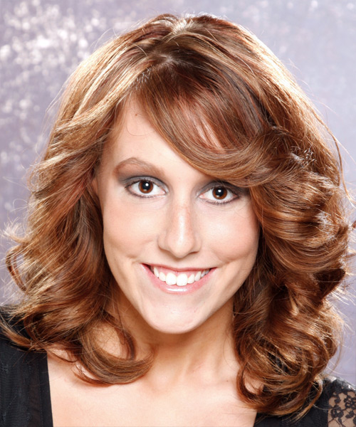 Long Wavy Formal   Hairstyle with Side Swept Bangs  - Medium Brunette
