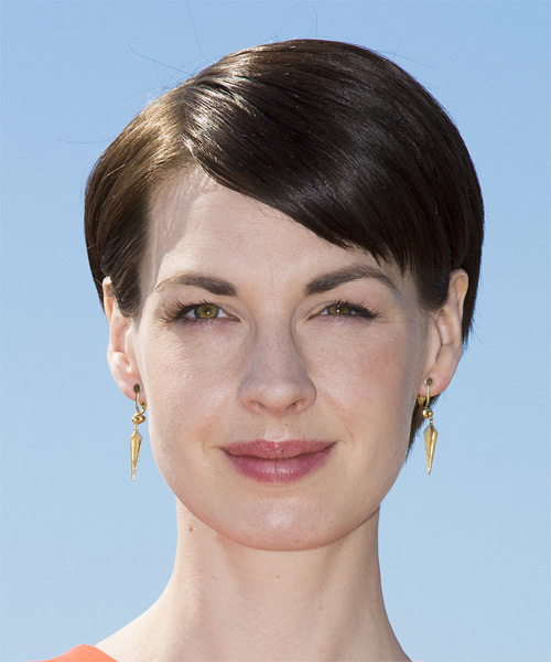 Jessica Raine Short Straight Formal    Hairstyle   - Dark Brunette Hair Color